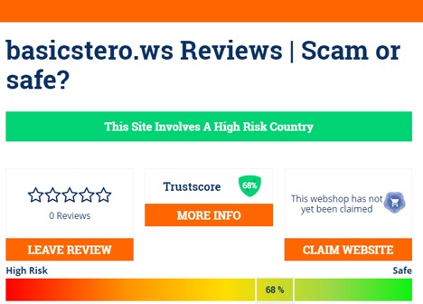 Basicstero.ws Review on scamadviser.com