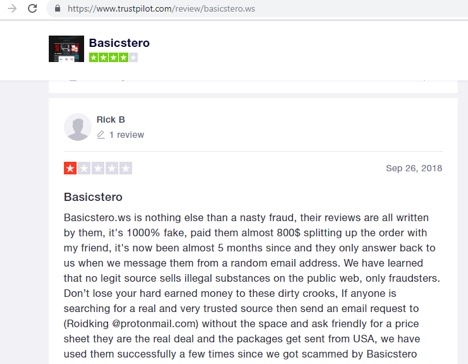 Basicstero.ws review on trustpilot.com